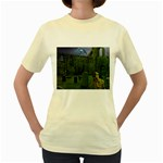 Gothic Fantasy Graveyard Women s Yellow T-Shirt