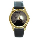 Gothic Mountain Setting Sun Round Gold Metal Watch