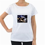 Gothic Unicorn Dark Storm Maternity White T-Shirt