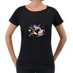 Gothic Unicorn Dark Storm Maternity Black T-Shirt
