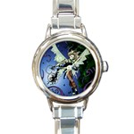 Purple Night Elf Fairy Round Italian Charm Watch