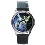 Purple Night Elf Fairy Round Metal Watch