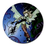 Purple Night Elf Fairy Round Mousepad
