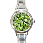 Retro Green Abstract Round Italian Charm Watch