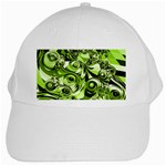 Retro Green Abstract White Baseball Cap