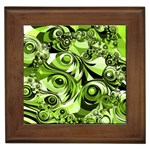 Retro Green Abstract Framed Ceramic Tile
