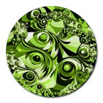 Retro Green Abstract 8  Mouse Pad (Round)