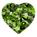 Retro Green Abstract Heart Ornament