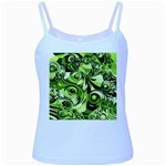 Retro Green Abstract Baby Blue Spaghetti Tank