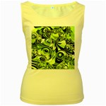 Retro Green Abstract Women s Tank Top (Yellow)