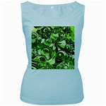 Retro Green Abstract Women s Tank Top (Baby Blue)