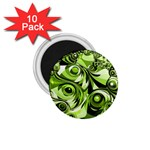 Retro Green Abstract 1.75  Button Magnet (10 pack)