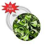 Retro Green Abstract 2.25  Button (10 pack)