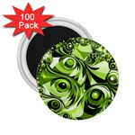 Retro Green Abstract 2.25  Button Magnet (100 pack)