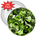 Retro Green Abstract 3  Button (100 pack)