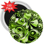 Retro Green Abstract 3  Button Magnet (100 pack)