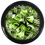 Retro Green Abstract Wall Clock (Black)