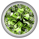 Retro Green Abstract Wall Clock (Silver)