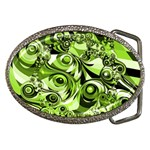 Retro Green Abstract Belt Buckle (Oval)