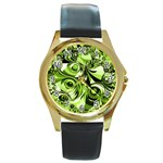 Retro Green Abstract Round Leather Watch (Gold Rim)