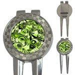 Retro Green Abstract Golf Pitchfork & Ball Marker