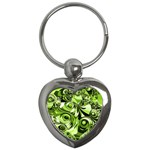 Retro Green Abstract Key Chain (Heart)