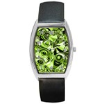 Retro Green Abstract Tonneau Leather Watch