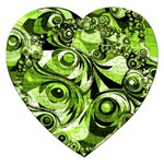 Retro Green Abstract Jigsaw Puzzle (Heart)