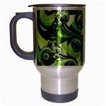 Retro Green Abstract Travel Mug (Silver Gray)