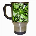 Retro Green Abstract Travel Mug (White)