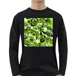 Retro Green Abstract Men s Long Sleeve T-shirt (Dark Colored)