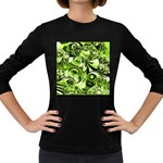 Retro Green Abstract Women s Long Sleeve T-shirt (Dark Colored)