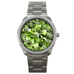 Retro Green Abstract Sport Metal Watch