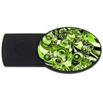Retro Green Abstract 4GB USB Flash Drive (Oval)