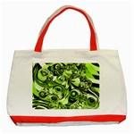 Retro Green Abstract Classic Tote Bag (Red)