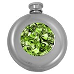 Retro Green Abstract Hip Flask (Round)