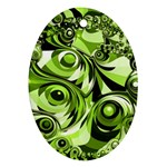 Retro Green Abstract Oval Ornament (Two Sides)