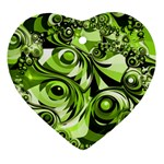 Retro Green Abstract Heart Ornament (Two Sides)