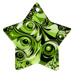 Retro Green Abstract Star Ornament (Two Sides)