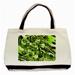 Retro Green Abstract Twin-sided Black Tote Bag