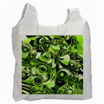 Retro Green Abstract White Reusable Bag (One Side)