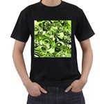 Retro Green Abstract Men s T-shirt (Black)