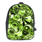 Retro Green Abstract School Bag (Large)
