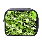 Retro Green Abstract Mini Travel Toiletry Bag (Two Sides)
