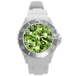 Retro Green Abstract Plastic Sport Watch (Large)