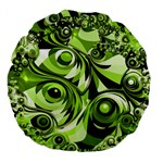 Retro Green Abstract 18  Premium Round Cushion