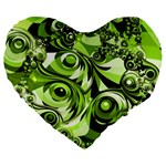 Retro Green Abstract 19  Premium Heart Shape Cushion