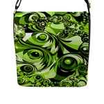 Retro Green Abstract Flap Closure Messenger Bag (Large)