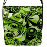 Retro Green Abstract Flap Closure Messenger Bag (Small)