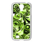 Retro Green Abstract Samsung GALAXY S4 I9500/ I9505 Case (White)